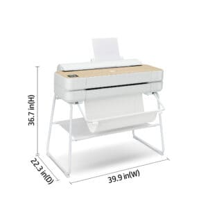 HP DesignJet Studio Wood 24-in A1 printer - photo shows the printer forward facing, with dimensions, giving an overview of the size and style of the printer.