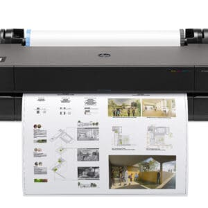 HP DesignJet T230 24-in A1 printer - photo shows the printer without the optional stand, sitting on a desk to give an impression of the size and look of the DesignJet T230 base model.