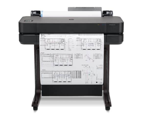 HP DesignJet T630 24-in A1 printer - photo shows the printer with a printout and the media basket closed, giving an impression of the size of printer and the capability and typical user output