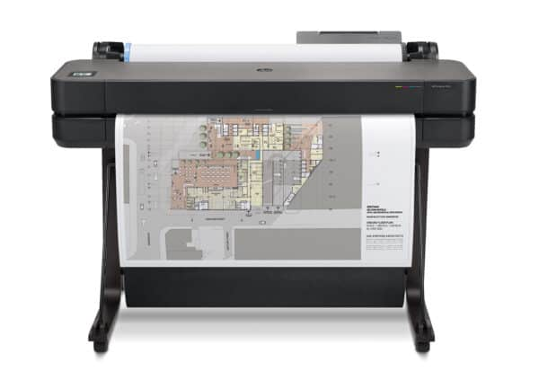 HP DesignJet T630 36-in A0 printer - photo shows the printer with a printout and the media basket closed, giving an impression of the size of printer and the capability and typical user output
