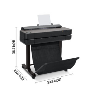 HP DesignJet T650 24-in A1 printer - photo shows the printer with the media basket open, and dimensions, giving an overview of the size and look of the printer.