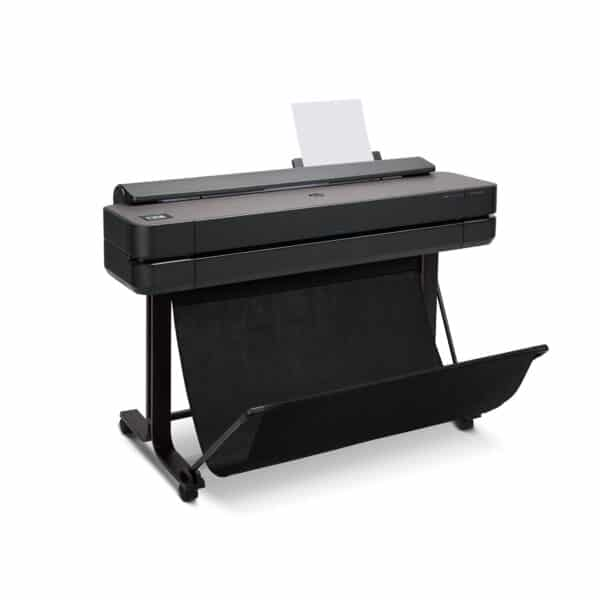 HP DesignJet T650 36-in A0 printer - photo shows the printer with the media basket open, giving an impression of the size of look of the printer.