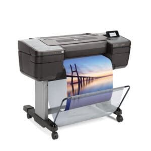 HP DesignJet Z9ps 24-in A1 printer - photo shows the printer with a printout dropping into the media basket and gives an impression of the size of the printer and the capability and typical user output