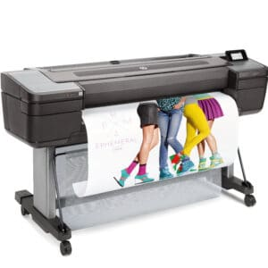 HP DesignJet Z9ps 44-in A0 printer - photo shows the printer with a printout dropping into the media basket and gives an impression of the size of the printer and the capability and typical user output